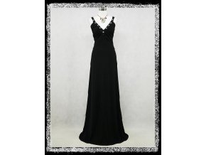 Černé dlouhé společenské šaty elastické splývavé s kamínky DR0181