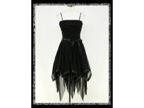 Černé krátké společenské šaty taneční cípaté DR0292