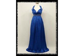 Modré dlouhé plesové šaty za krk s kamínky pod prsy i pro těhotné DR1435 dcfb360e089