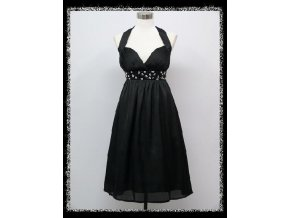 Černé krátké šaty koktejlky za krk s kamínky pod prsy i pro těhotné DR1410