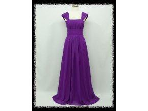 Fialové dlouhé společenské šaty se širokými ramínky a šněrovačkou DR1510a