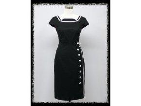 Černé pouzdrové šaty po kolena s bílými doplňky na párty do divadla DR1590