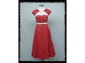 Červené retro společenské šaty po kolena koktejlky s puntíky sDR1652