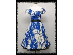 Modré bílé společenské letní krátké šaty do tanečních DR1671a