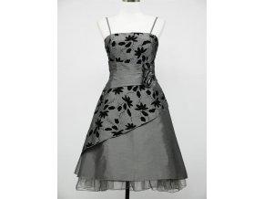 Šedé stříbrné krátké retro šaty s potiskem DR0153a
