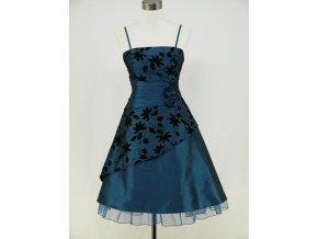 Modré krátké retro šaty s potiskem DR0068a