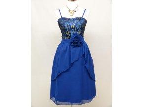 Modré krátké společenské šaty koktejlky na ples s krajkou C3613a