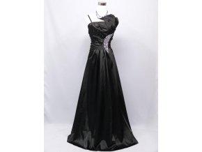 Černé dlouhé levné společenské šaty se štrasovou ozdobou na ples C2800a