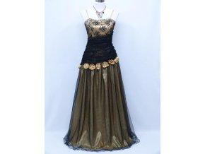Černé zlaté společenské šaty levné s růžemi na ples na svatbu do divadla C4011a