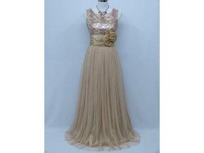 Béžové ivory společenské šaty na ples na svatbu C4046a