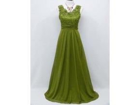 Zelené lahvové společenské šaty s květinami na široká ramínka na ples C4031a