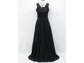 Černé dlouhé plesové šaty s květinami na široké ramínka na ples C4036a
