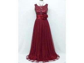 Bordó červené dlouhé společenské šaty na ples C4056a
