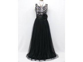 Černé dlouhé společenské šaty se zdobeným topem na ples C4051a