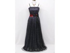 Černé blýskavé levné společenské šaty s červenou stuhou na ples pro dámu C3961a