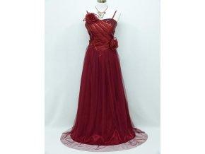 Červené bordó společčnské šaty se sklady na ples na svatbu C3966a