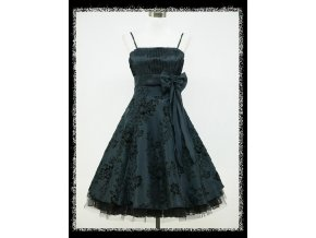 Modré tamvé krátké společenské retro šaty DR0683