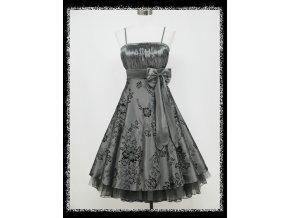 Šedé stříbrné krátké společenské retro šaty pro plnoštíhlé DR0578a