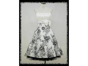 Bílé černé krátké společenské retro šaty na ples na svatbu DR0701