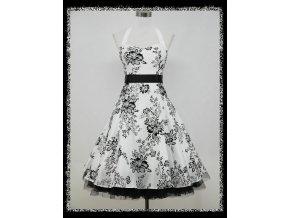 Bílé černé krátké společenské šaty za krk na ples DR0689