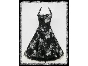 Černobílé květinové společenské krátké šaty po kolena do tanečních za krk DR0401