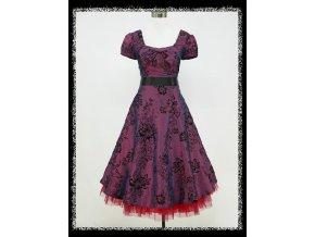 Fialové černé krátké společenské šaty po kolena s rukávkem do tanečních DR0585