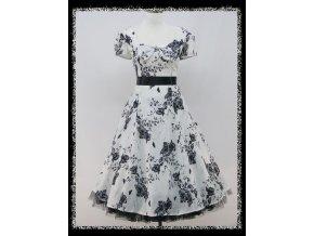 Černobílé krátké společenské šaty s květinovým potiskem s rukávkem na ples DR0747