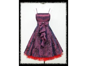 Fialové krátké společenské šaty do tanečních s volánem DR0734a