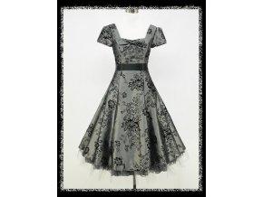 Šedé stříbrné krátké společenské šaty retro koktejlky s rukavem na ples DR0755