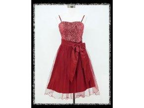 Červené krátké společenské šaty do tanečních pro plnoštíhlé DR0815
