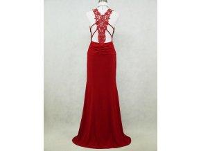 Červené dlouhé sexy elastické šaty s krajkovými zády na ples DR0085d