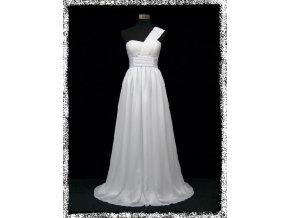 Bílé dlouhé svatební společenské šaty těhotenské na jedno rameno DR1335