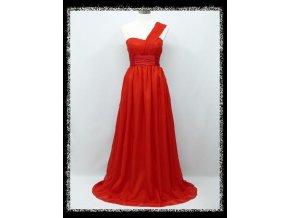 Červené dlouhé společenské šaty na jedno rameno pro těhotné DR1323
