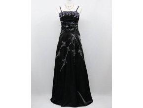 Černé dlouhé leskléplesové šaty se s tříbrnou krajkou pro plnoštíhlé B8194a