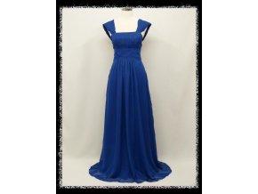 Modré dlouhé společenské šaty se širokými ramínky a šněrovačkou těhotenské DR1521a