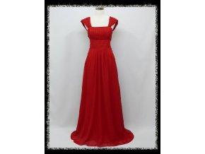 Červené dlouhé společenské šaty se širokými ramínky a šněrovačkou těhotenské DR1516