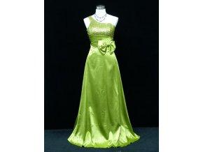 Zelené dlouhé společenské šaty na jedno rameno s flitry na ples C2032a