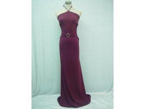 Fialové elastické dlouhé sexy společenské šaty za krk A4158a