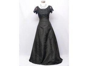Černé dlouhé společenské šaty s krajkovým topem a rukávy na ples C1965a