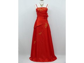 Červené dlouhé společenské šaty zavinovací se zlatou nášivkou na ples B8205a