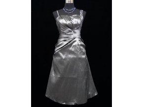 Šedé stříbrné jednoduché společenské šaty s kamínky do tanečních C1435a
