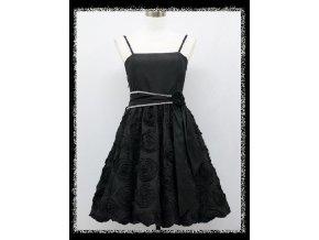 Černé krátké společenské šaty se stuhou do tanečních DR0857