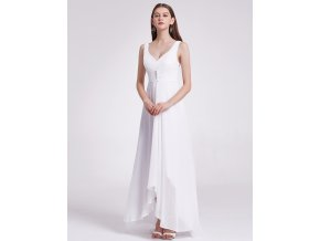 Bílé dlouhé svatební šaty vhodné pro těhotné asymetrické na svatbu