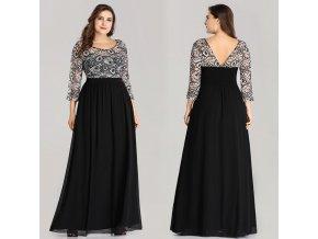 Černé bílé květované XXL šaty pro plnoštíhlé