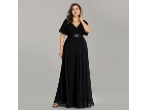 Černé dlouhé plus size společenské šaty s rukávky por těhotné boubelky 3