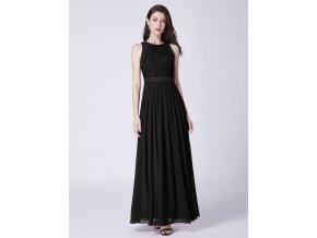 Černé dlouhé luxusní společenské šaty bez rukávů 4