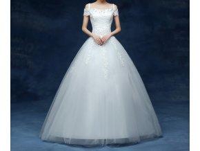 Bílé dlouhé luxusní svatební šaty na ramínka zdobená sukně na svatbu