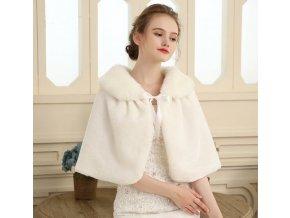 Bílá krémová štola kolem ramen na svatební šaty na zavazování 7