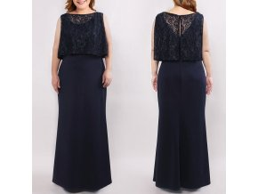 Modré plus size společenské šaty pro plnoštíhlé dámy s krajkou 2