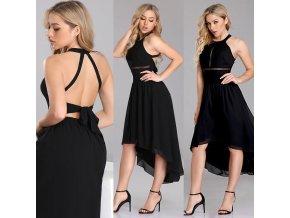 Černé sexy polodlouhé společenské šaty za krk